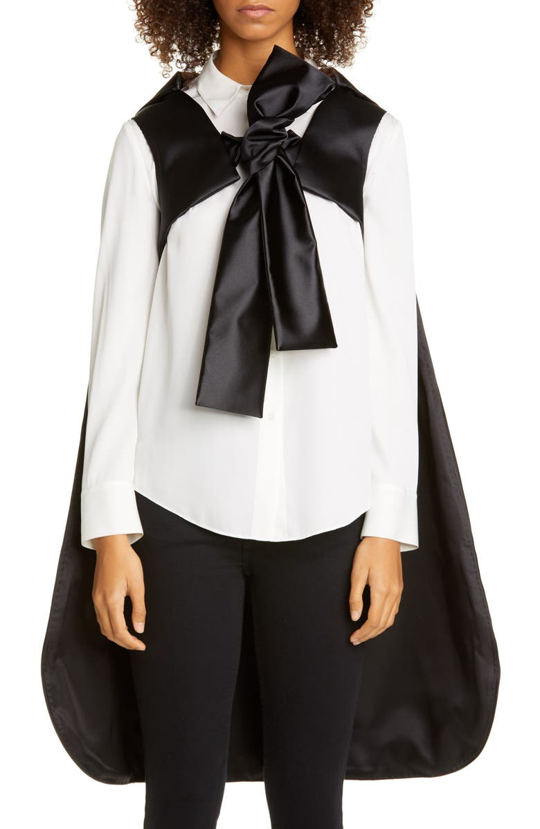 COMME DES GARÇONS Silk Bow Cape, Main, color, BLACK