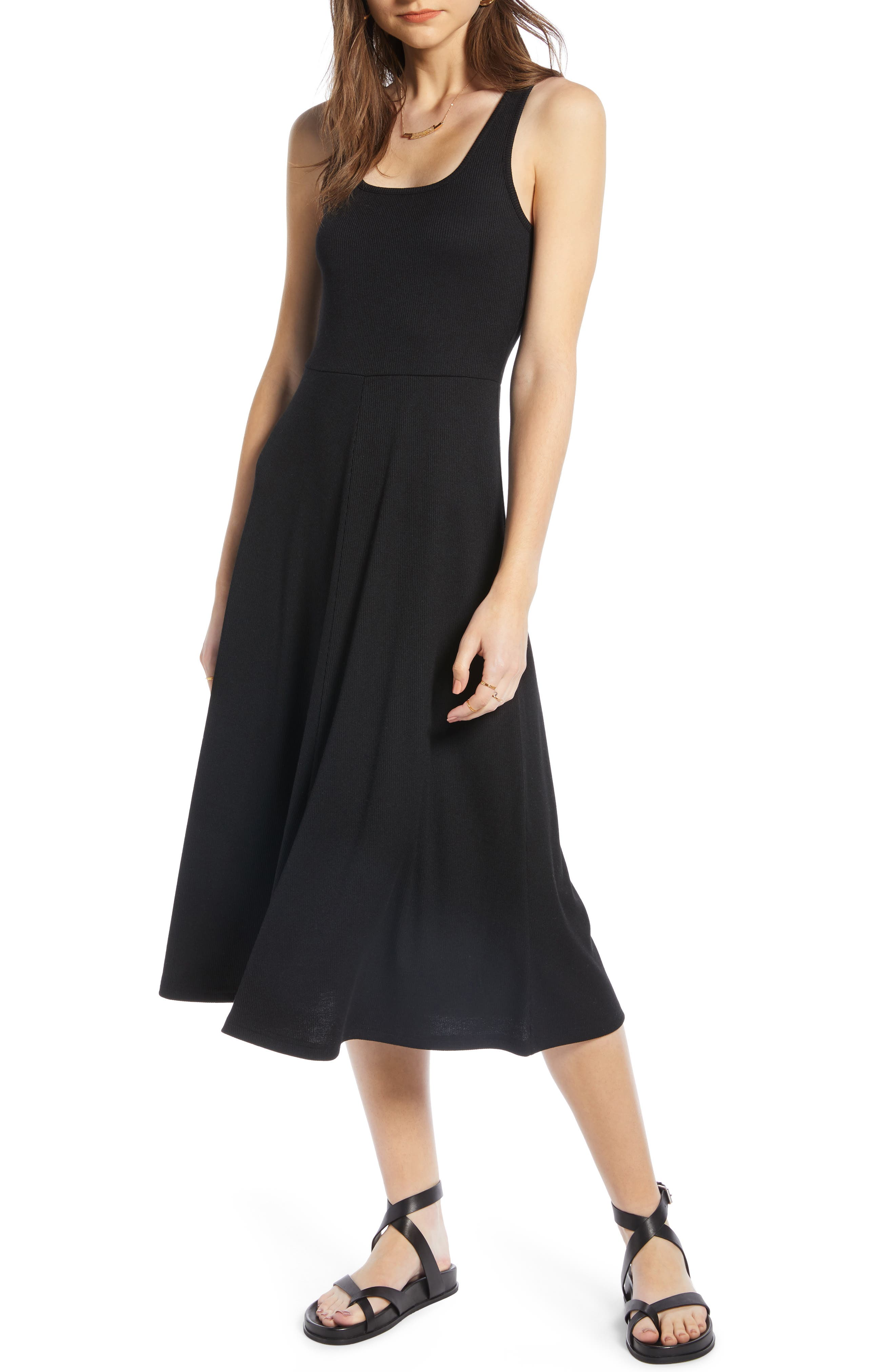 A-Line Tank Dress, Main, color, BLACK