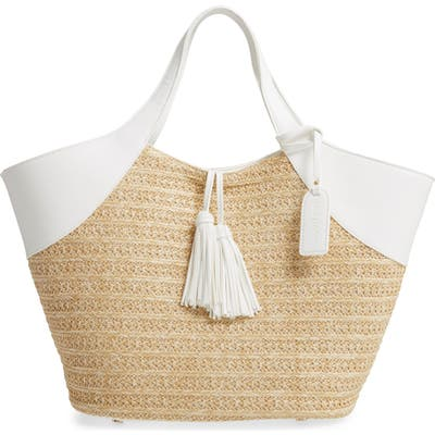 Sole Society Ebba Straw Tote - White