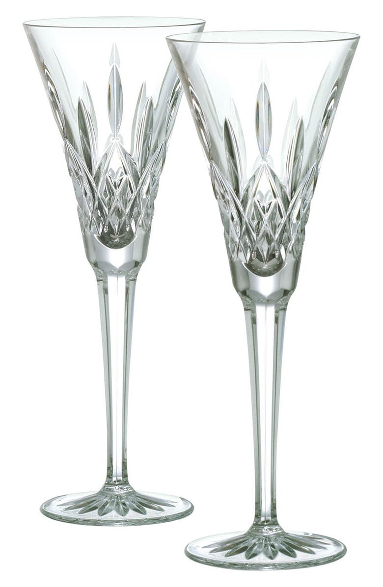 WATERFORD 'Lismore' Lead Crystal Champagne Flutes, Main, color, CLEAR