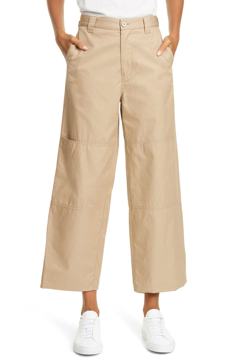 MM6 MAISON MARGIELA Seam Detail Cotton Twill Crop Pants, Main, color, SAND