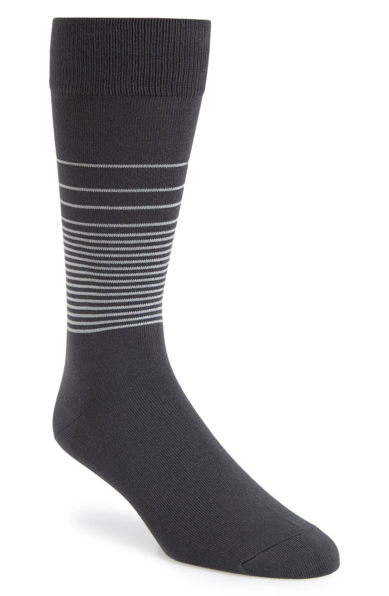 NORDSTROM MEN'S SHOP Ombré Stripe Ultrasoft Socks, Main, color, CHARCOAL/ GREY
