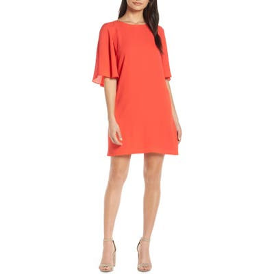 Forest Lily Cape Shift Dress, Red