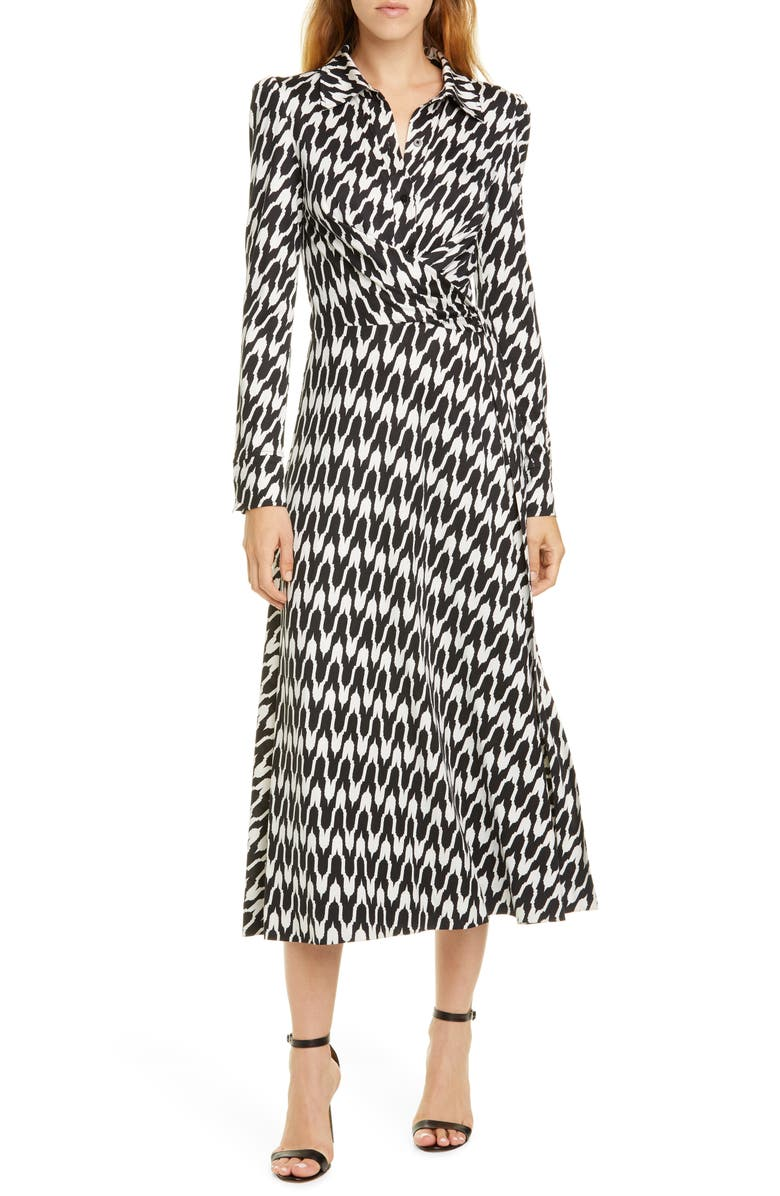 DVF Sana Houndstooth Long Sleeve Dress, Main, color, EMPIRE HOUNDSTOOTH IVORY