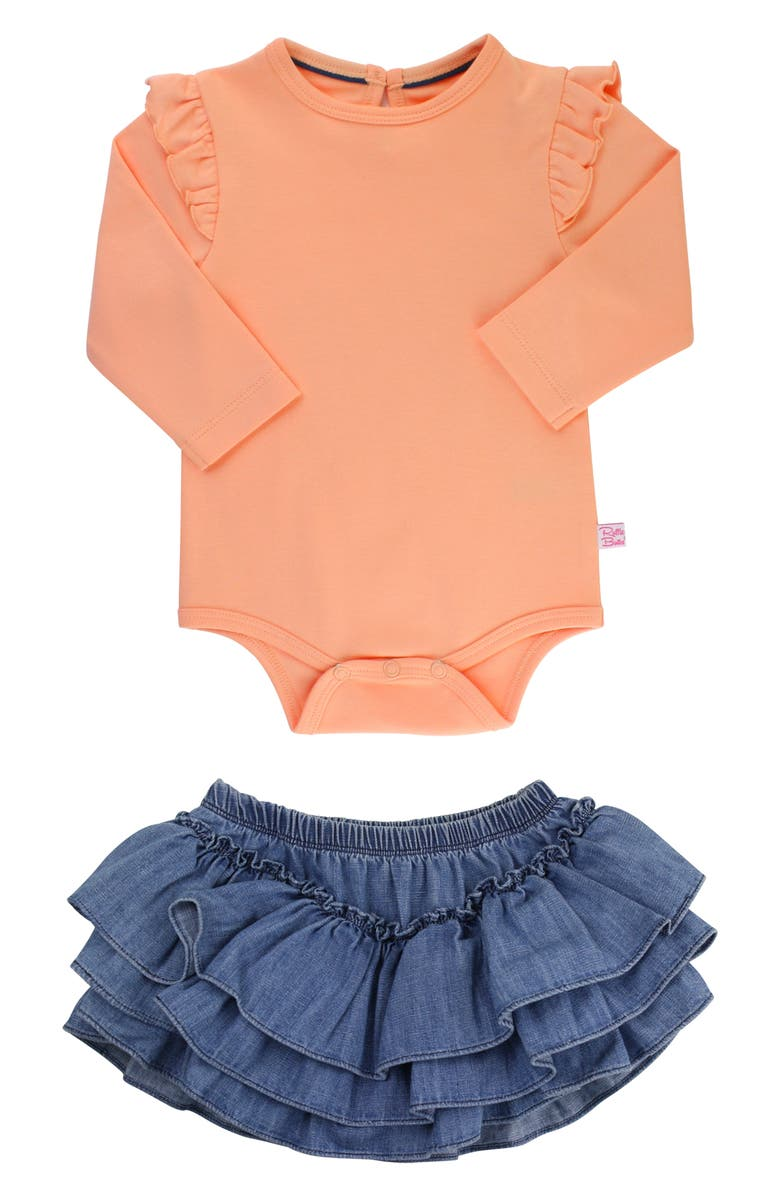 RuffleButts Apricot Bodysuit Skirted Bloomers Set Baby Girls