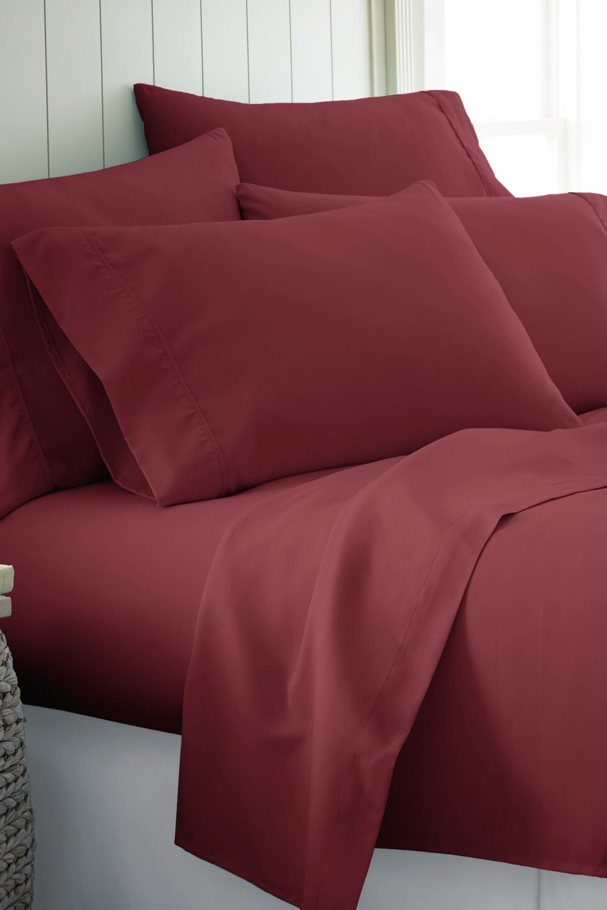Image of IENJOY HOME California King Hotel Collection Premium Ultra Soft 6-Piece Bed Sheet Set - Burgundy