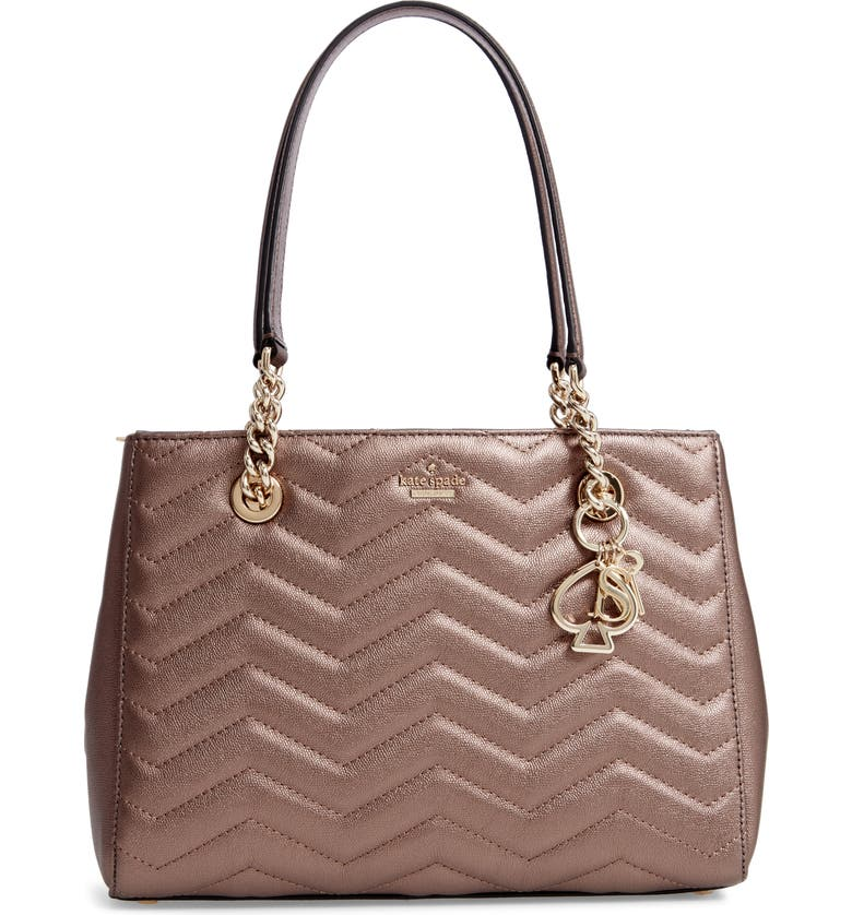 KATE SPADE NEW YORK reese park - small courtnee leather tote, Main, color, 040