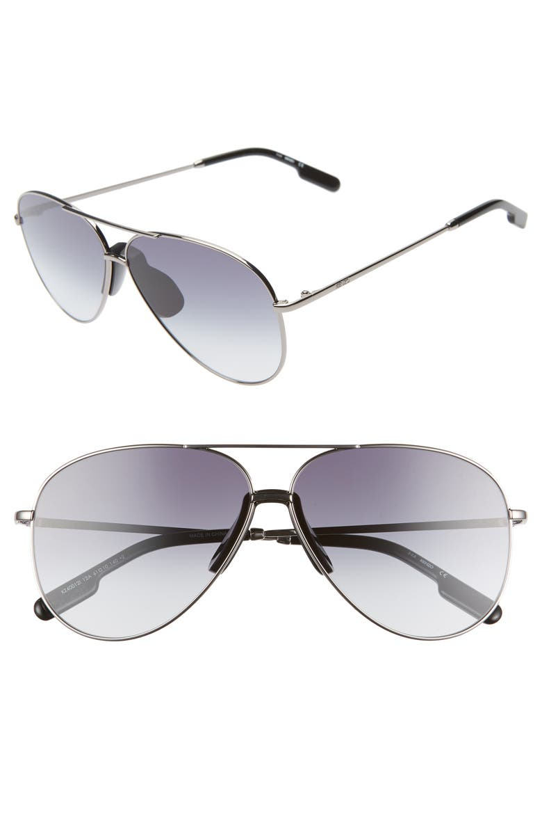 KENZO 61mm International Fit Aviator Sunglasses, Main, color, SHINY DARK RUTHENIUM/ SMOKE