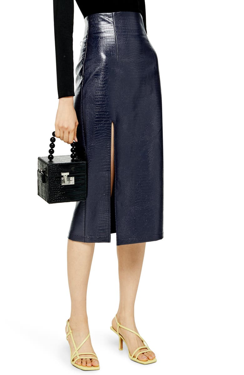 TOPSHOP Croc Faux Leather Pencil Skirt, Main, color, NAVY BLUE