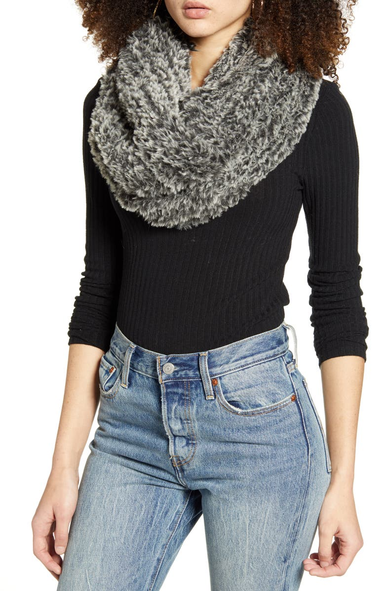 BP. Faux Fur Infinity Scarf, Main, color, GREY COMBO