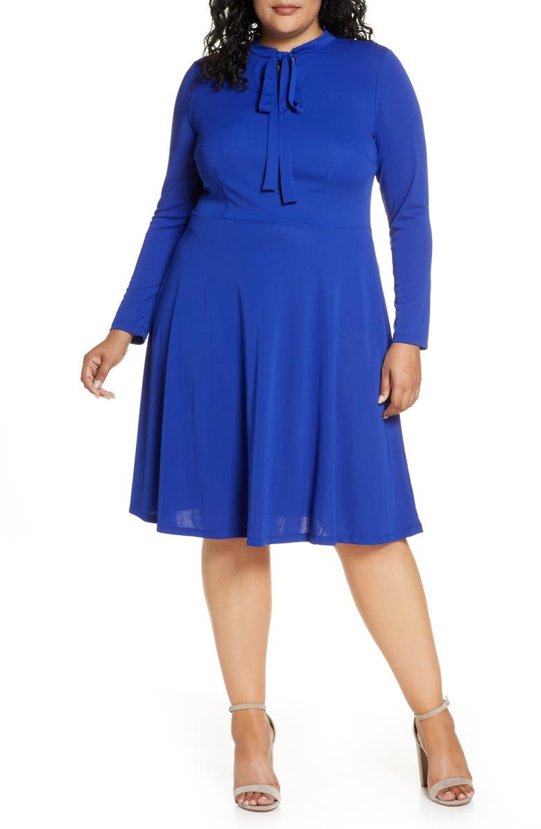 ELOQUII Tie Neck Long Sleeve Dress, Main, color, DEEP SAPHIRE