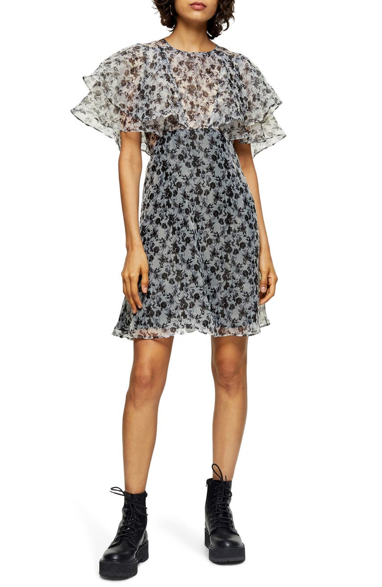 TOPSHOP Organza Floral Print Minidress, Main, color, 100