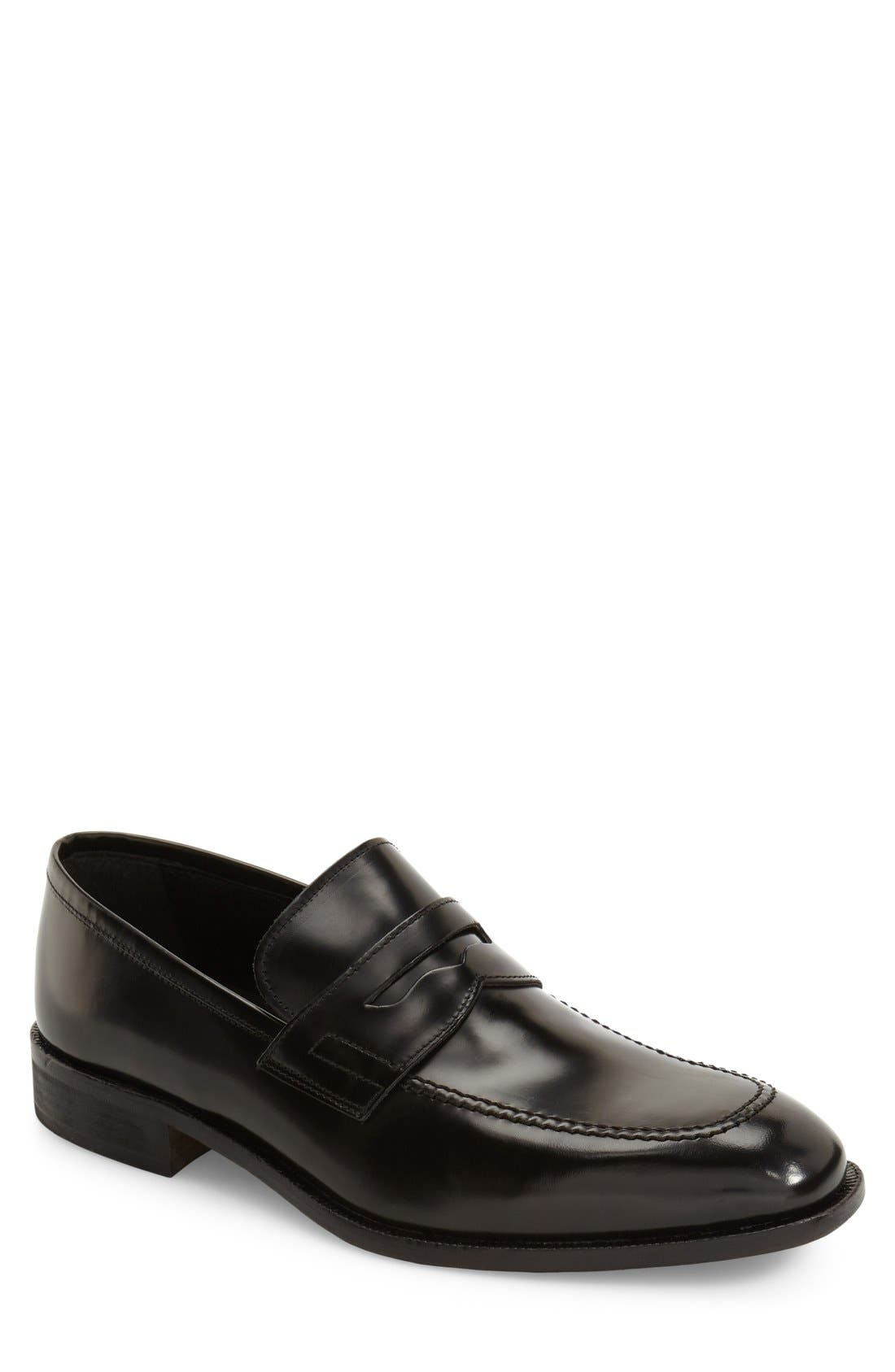 Suit Coat Penny Loafer, Main, color, 001