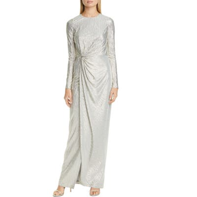 St. John Evening Long Sleeve Gathered Lame Cloque Gown, Beige