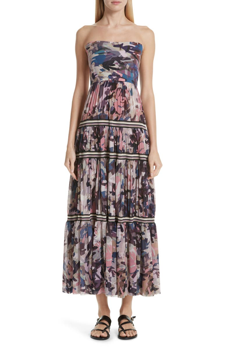 FUZZI Camo Print Strapless Tulle Convertible Dress, Main, color, 650