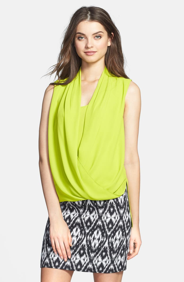 VINCE CAMUTO Sleeveless Wrap Front Shirttail Blouse, Main, color, 347