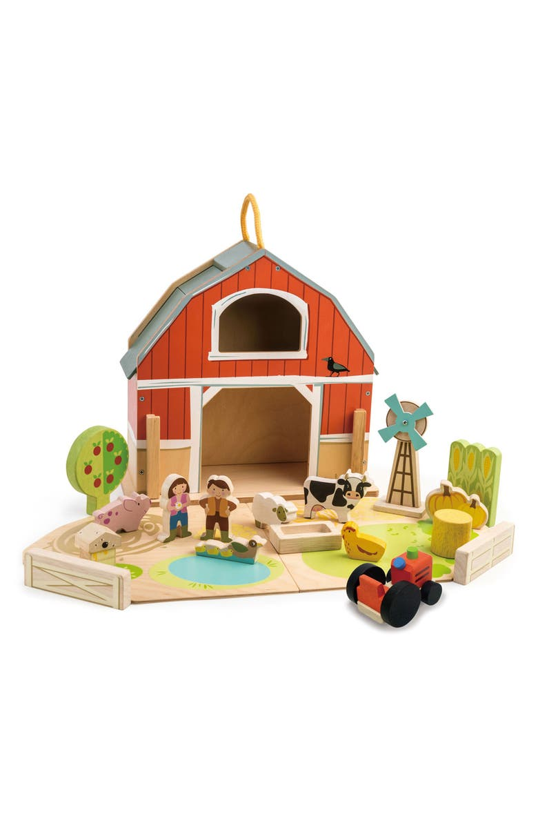 TENDER LEAF TOYS Baby Barn Play Set, Main, color, MULTI