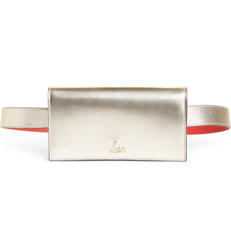 CHRISTIAN LOUBOUTIN Boudoir Metallic Leather Belt Bag, Main, color, PLATINE/ GOLD