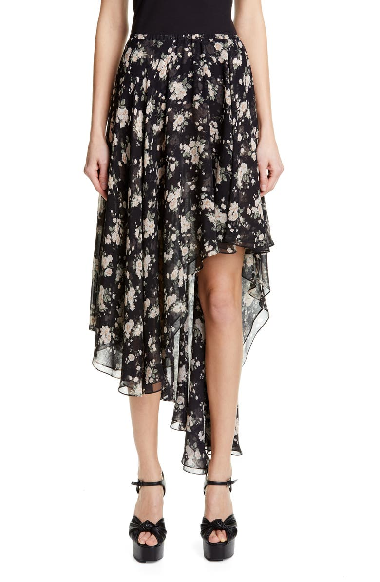 MICHAEL KORS COLLECTION Michael Kors Asymmetrical Silk Chiffon Dance Skirt, Main, color, BLACK/ IVORY