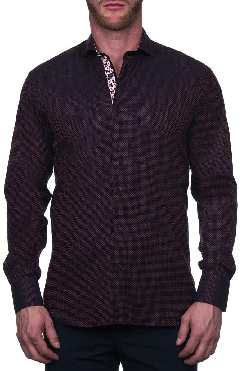 MACEOO Einstein Regular Fit Button-Up Shirt, Main, color, BLACK