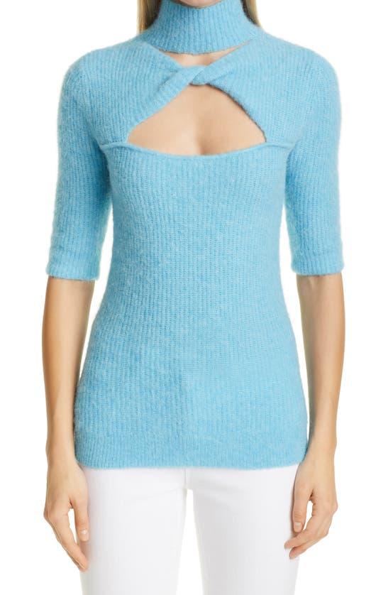 Ganni Wools CUTOUT WOOL BLEND MOCK NECK SWEATER