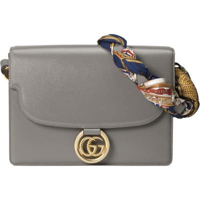 Gucci Medium Gg Ring Leather Shoulder Bag With Foulard Carre Flags Scarf - Grey