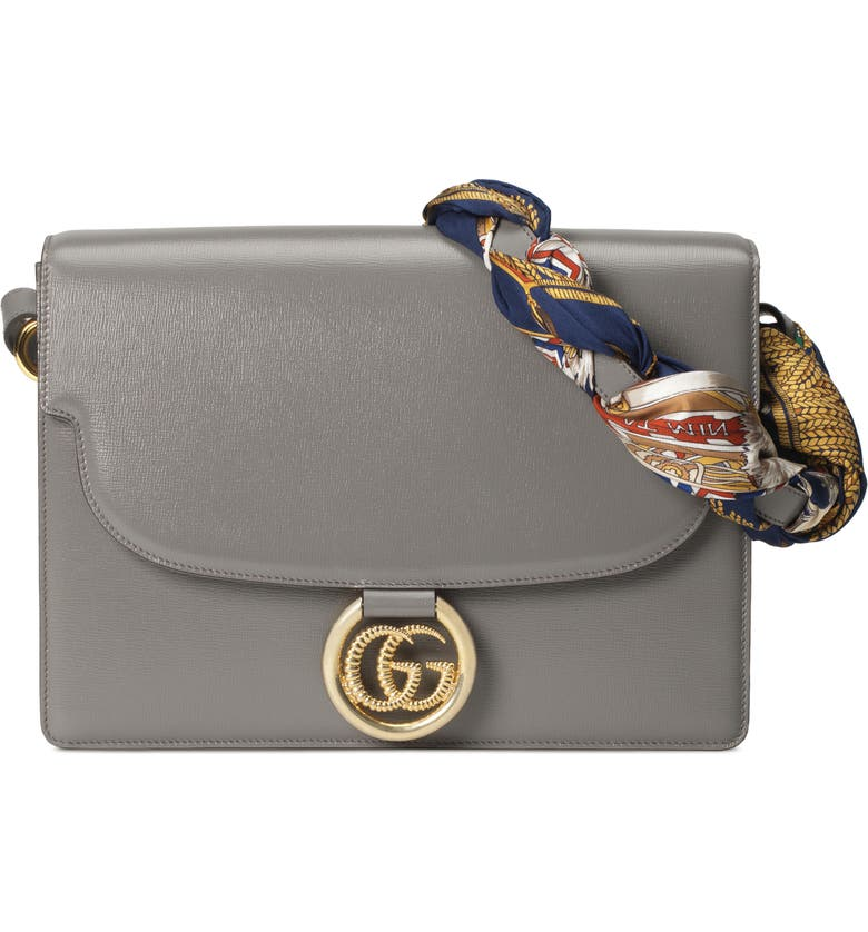 GUCCI Medium GG Ring Leather Shoulder Bag with Foulard Carre Flags Scarf, Main, color, DUSTY GREY/ NAVY YELLOW