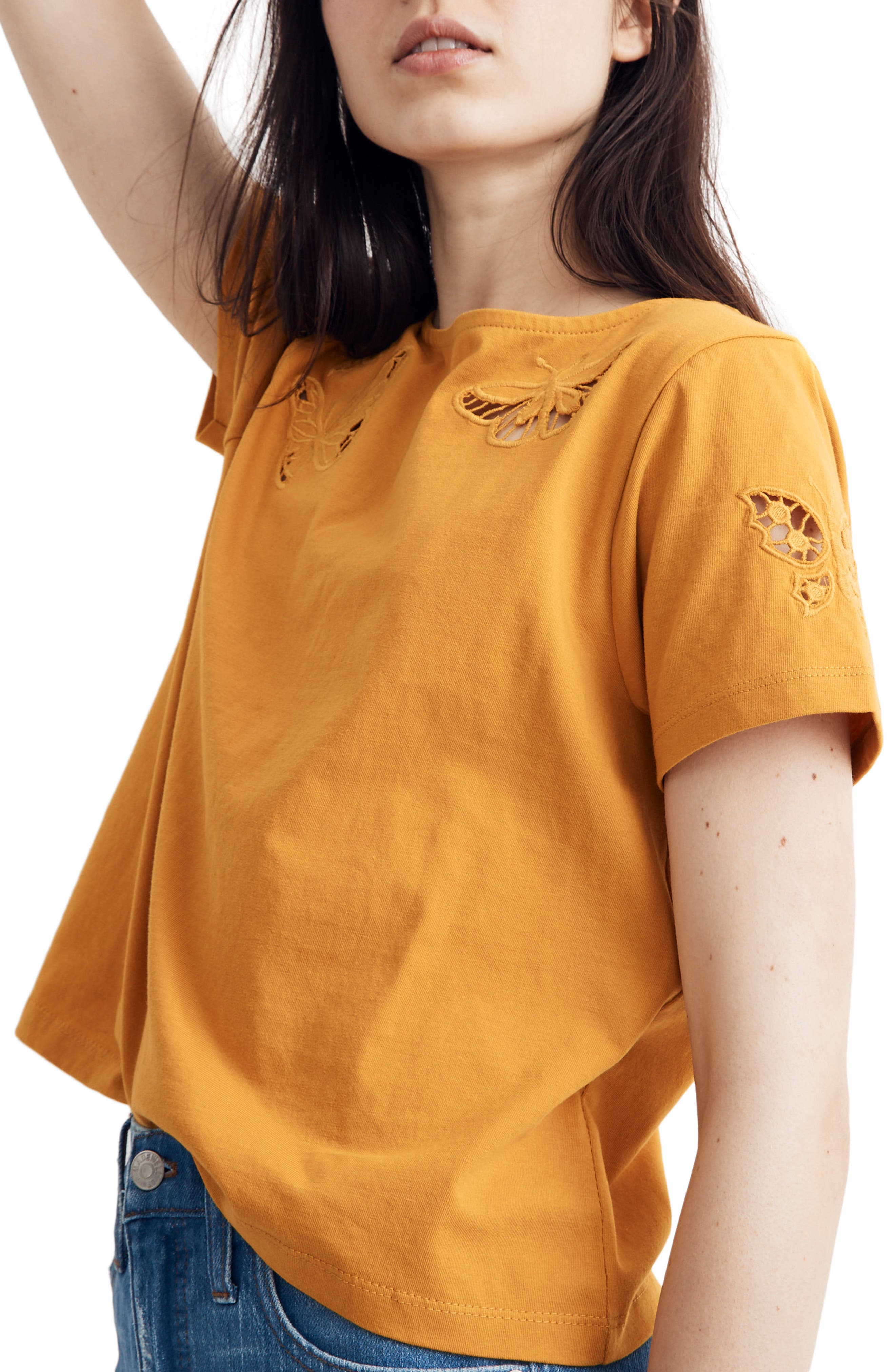 Butterfly Embroidered Eyelet Setlist Boxy Tee, Main, color, TUNGSTEN GLOW