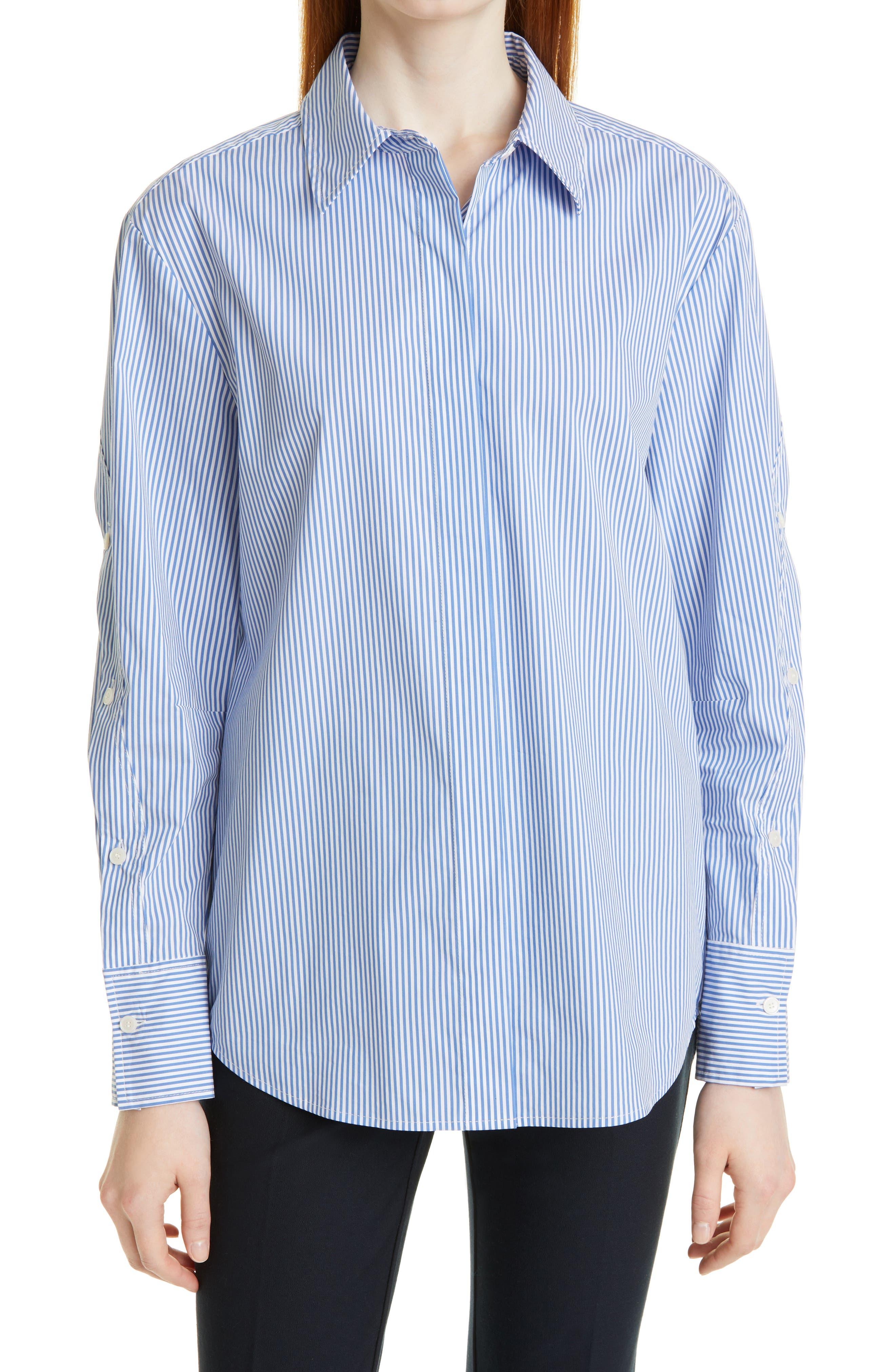 Jessie Stripe Ruffle Sleeve Cotton Blend Shirt