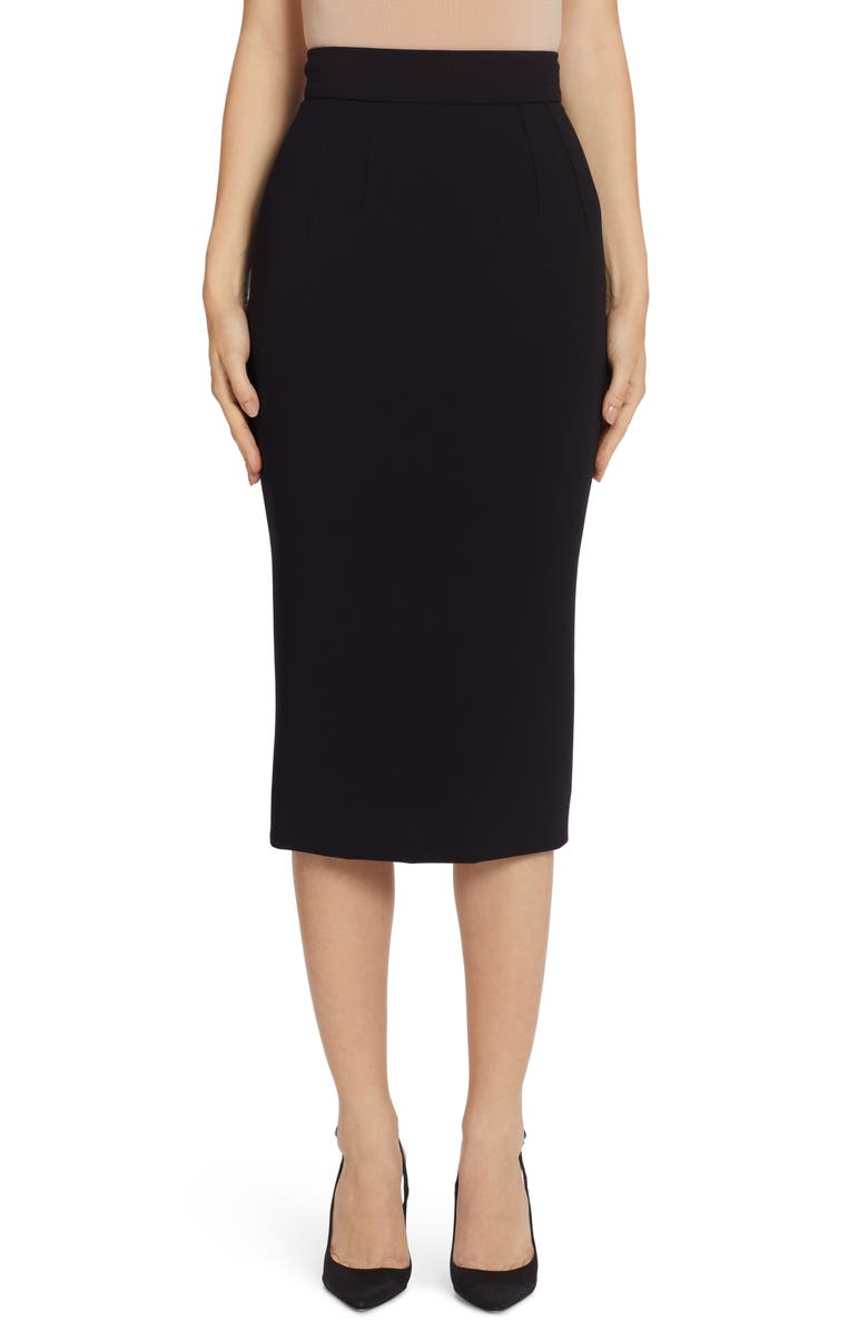 DOLCE&GABBANA Stretch Wool Pencil Skirt, Main, color, BLACK