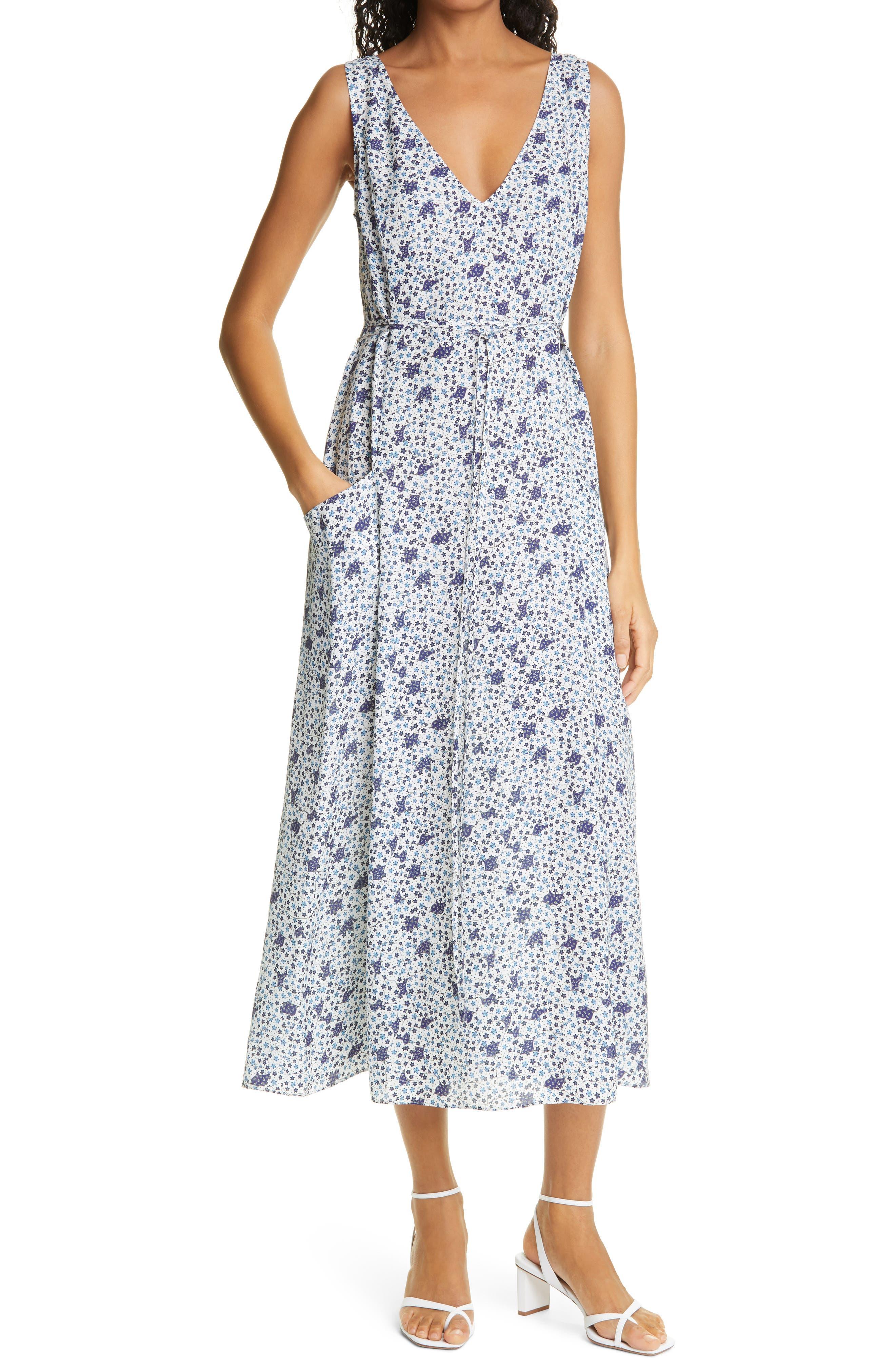 Floral Sleeveless Silk Blend Dress