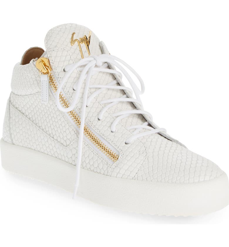 GIUSEPPE ZANOTTI Mid Top Sneaker, Main, color, BIANCO