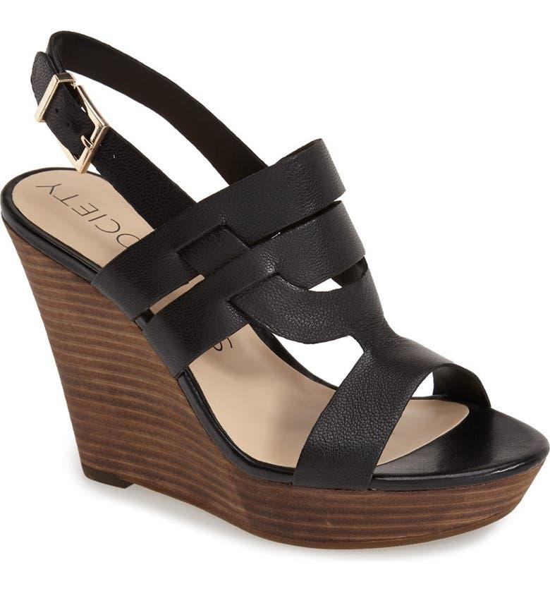 SOLE SOCIETY 'Jenny' Slingback Wedge Sandal, Main, color, 001