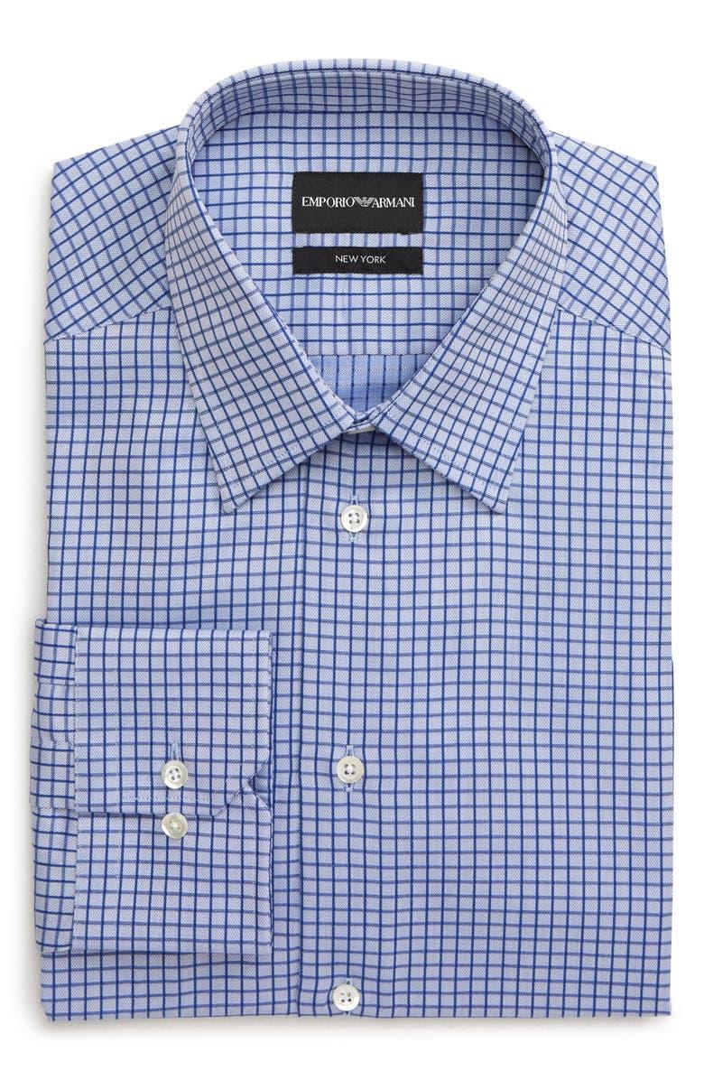 EMPORIO ARMANI Trim Fit Check Dress Shirt, Main, color, 474