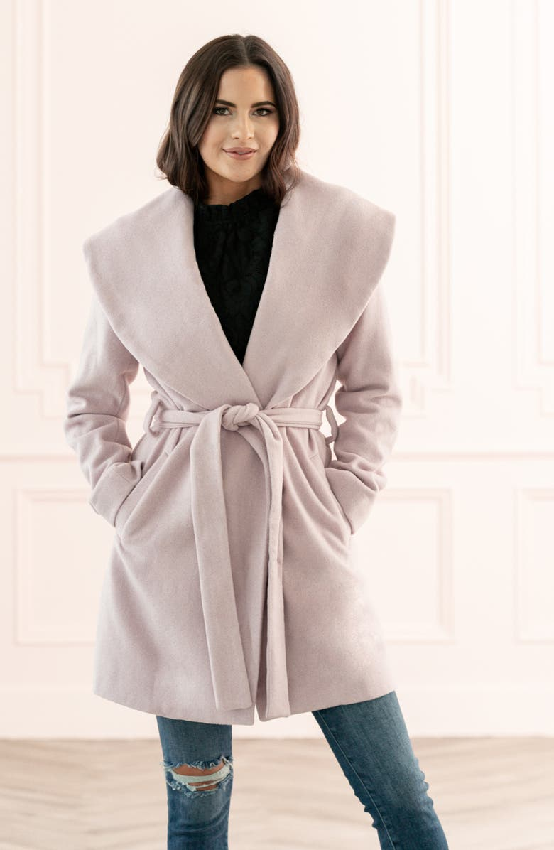 RACHEL PARCELL Belted Wrap Coat, Main, color, PINK ANTIQUE