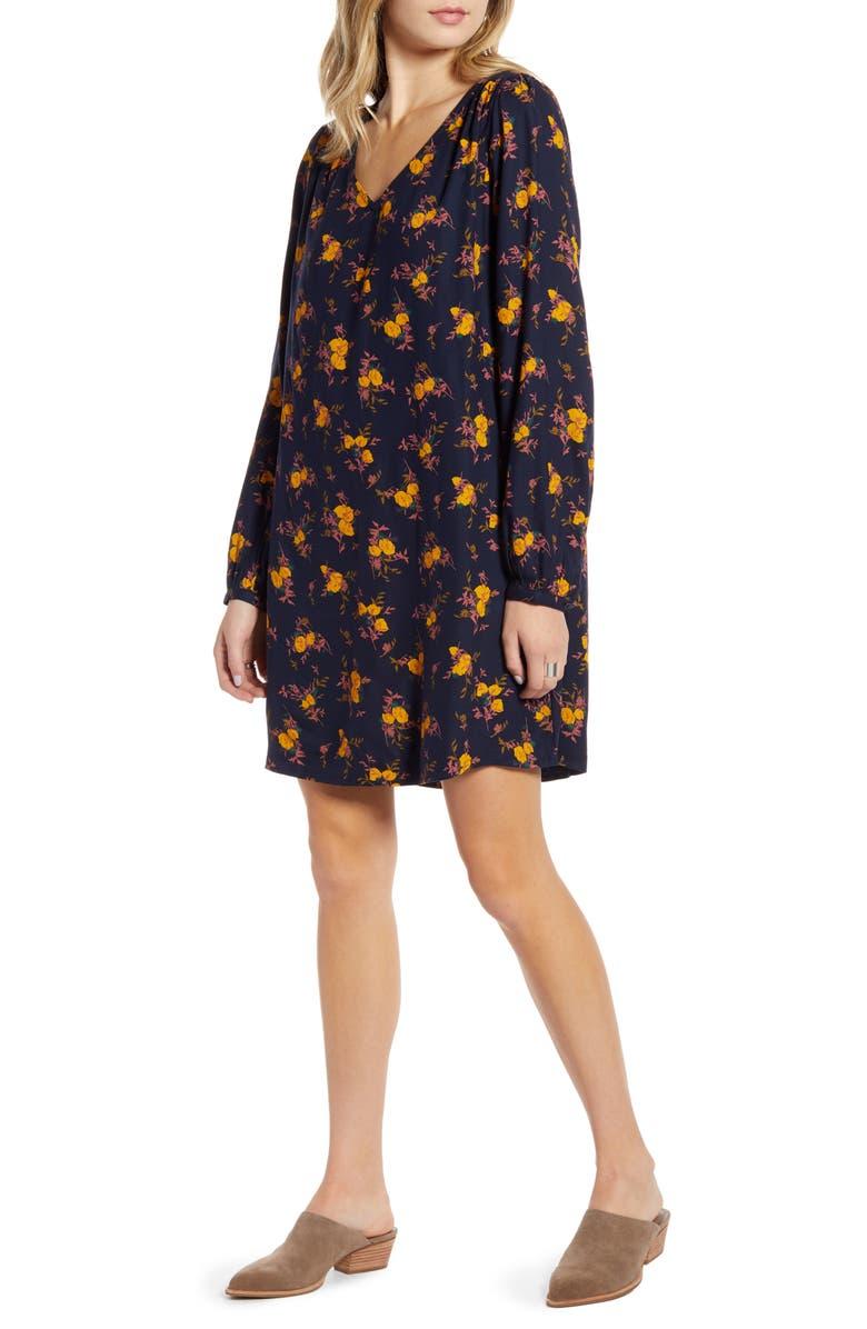 TREASURE & BOND V-Neck Long Sleeve Shift Dress, Main, color, 410