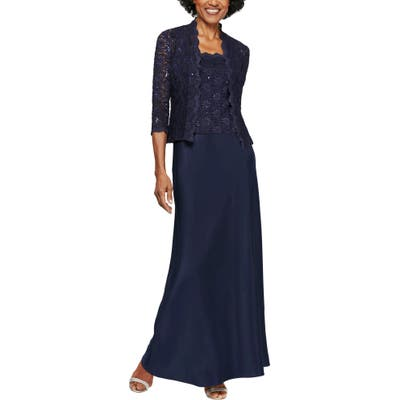 Alex Evenings Sequin Lace & Satin Gown With Jacket, Blue