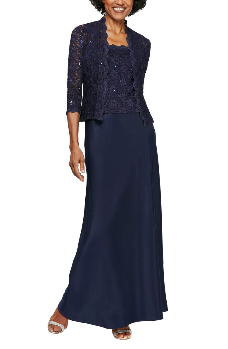 ALEX EVENINGS Sequin Lace & Satin Gown with Jacket, Main, color, MIDNIGHT