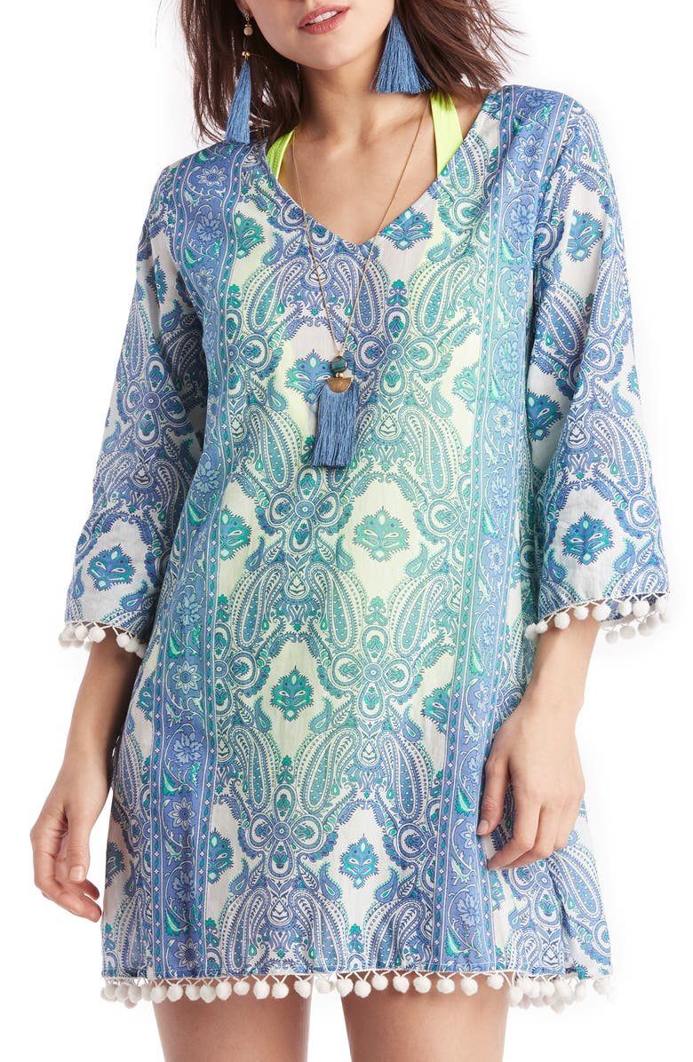 SOLE SOCIETY Paisley Pompom Cover-Up Tunic, Main, color, BLUE MULTI