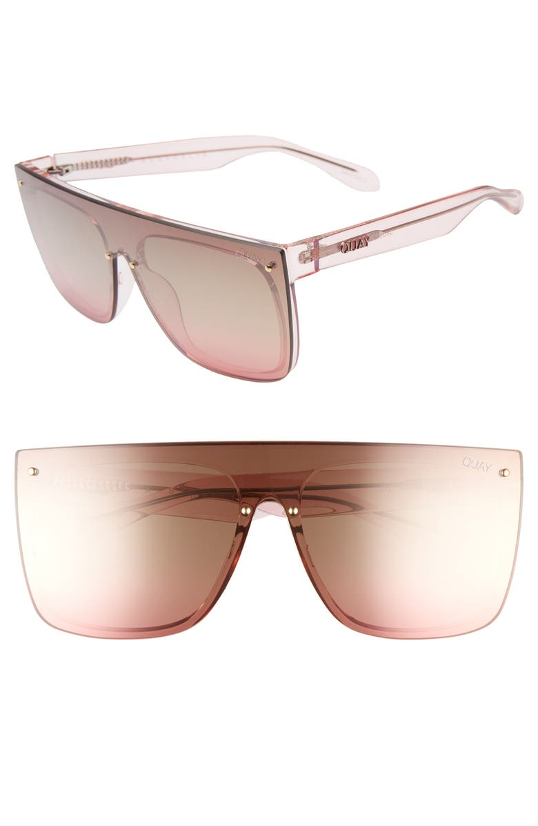 QUAY AUSTRALIA Jaded 150mm Flat Top Sunglasses, Main, color, PINK BROWN FLASH