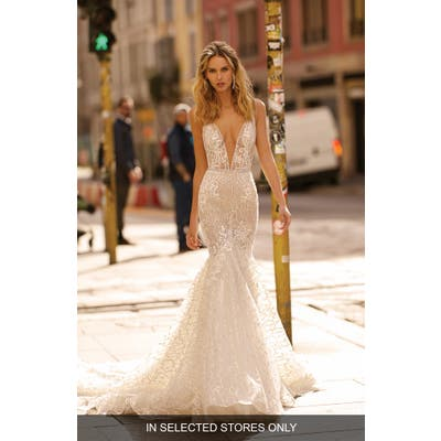 Berta Plunge Mermaid Wedding Dress, Size IN STORE ONLY - Ivory