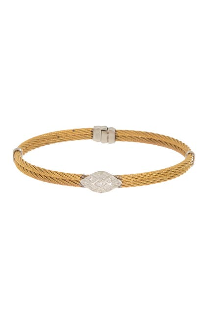 Image of ALOR Yellow Cable 18K White Gold Rope Bracelet
