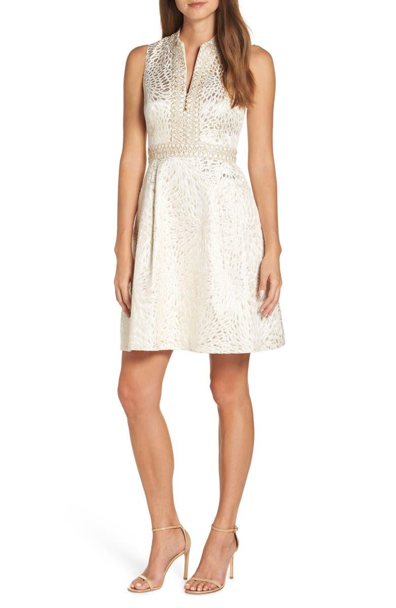 LILLY PULITZER<SUP>®</SUP> Franci Fit & Flare Dress, Main, color, GOLD METALLIC LAGOON JACQUARD