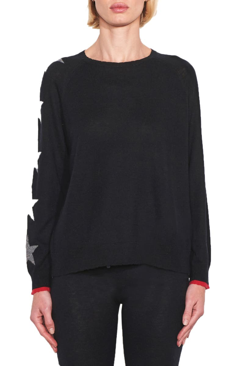 SUNDRY Stars & Heart Wool & Cashmere Sweater, Main, color, BLACK