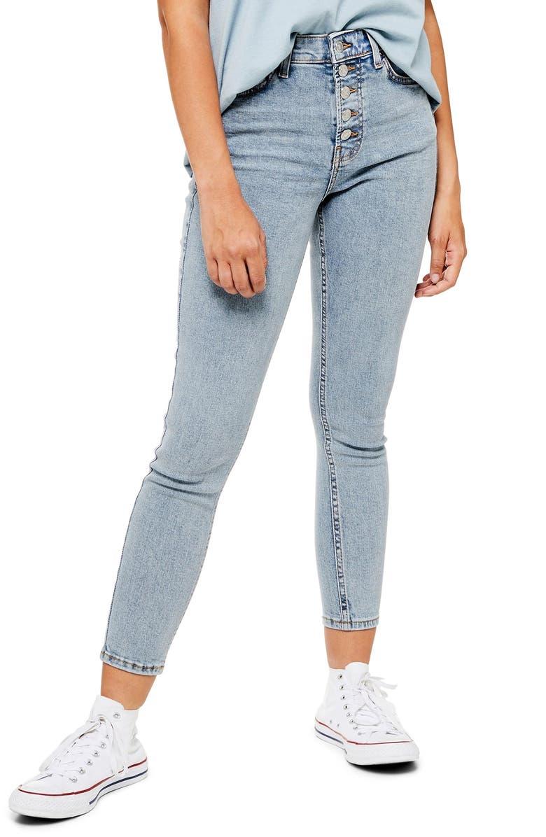 TOPSHOP Jamie Crop Skinny Jeans, Main, color, BLEACH