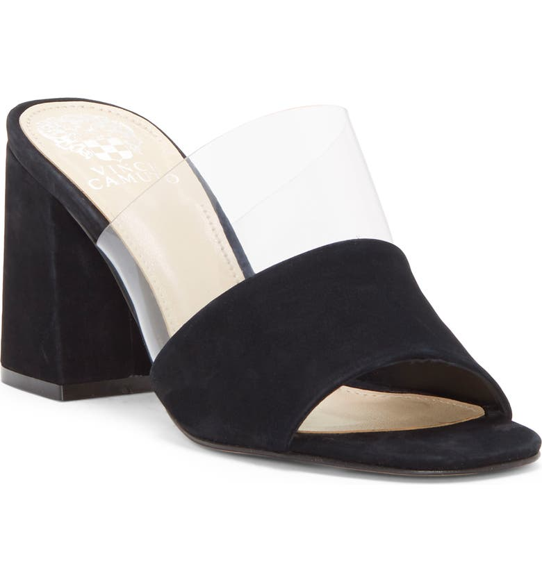 VINCE CAMUTO Nechesta Slide Sandal, Main, color, BLACK/ CLEAR