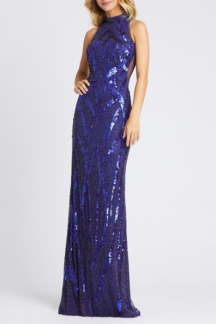 Image of Mac Duggal High Neck Beaded Sequin Sheath Gown