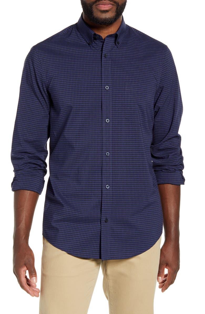 NORDSTROM MEN'S SHOP Regular Fit Dobby Gingham Button-Down Shirt, Main, color, NAVY BLUE HEATHER GINGHAM