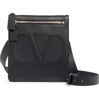 Valentino Small V-Logo Calfskin Leather Messenger Bag - Black