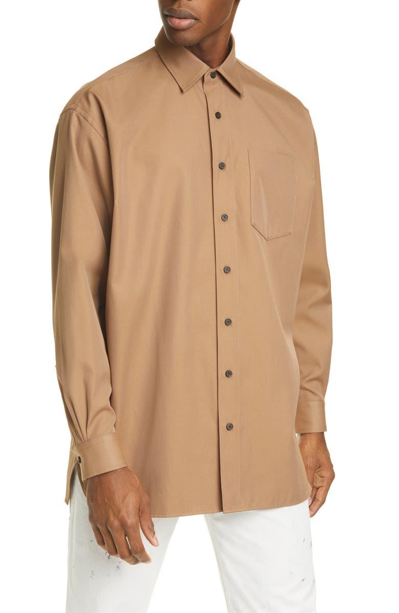ACNE STUDIOS Atlent Longline Button-Up Shirt, Main, color, MUSHROOM BEIGE